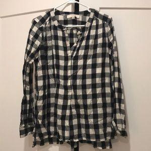 Loft women's black and white buffalo check shirt